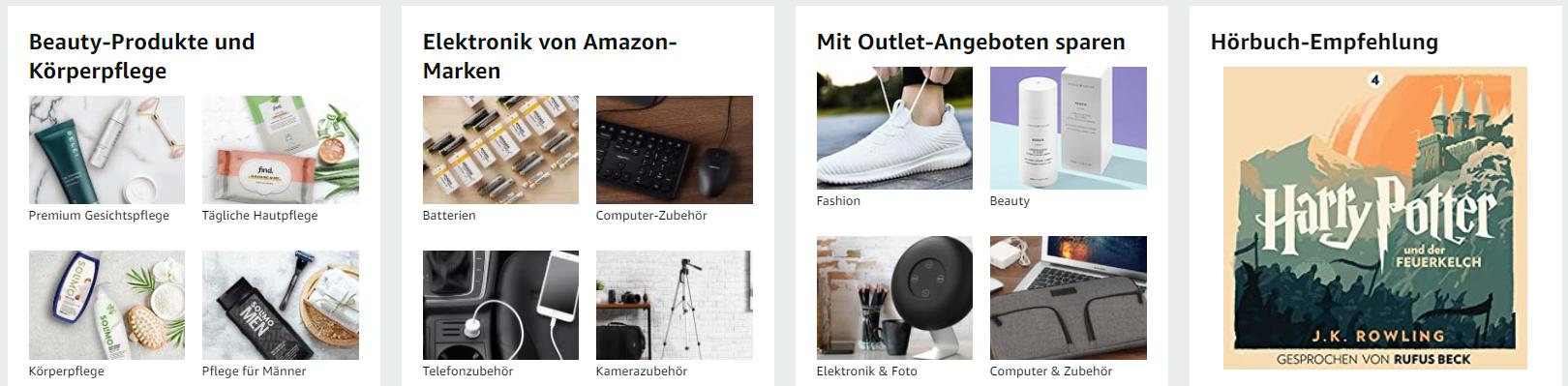 amazon bietet eine Vielzahl an Kategorien